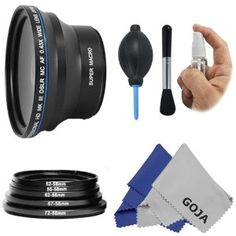 Essential Lens Kit For Canon Rebel T3i T3 T2i T2 T1i Xti Xt Xsi Xs Canon Eos 1100d 600d 550d 500d 450d 400d 350d 300d 7d Includes 58mm 043x Wide Angle W Macro Portion High Definition Lens Deluxe Cleaning Kit Adapter Ring Set Premium Goja Microfiber Cleani
