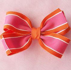 Hot Pink and Orange Stripe Hair Bow - 3 Inch Pinwheel Hairbow (Orange Guava).  via Etsy.