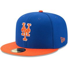 39744108050 New York Mets New Era Youth Diamond Era 59FIFTY Fitted Hat - Royal Orange
