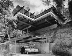 """Raul Garduno home built on a dizzying steep-grade site. One of our favorites, the 1962 Hillside House in Silverlake, was featured in an article entitled, """"Hillside House on an Anchor of Steel"""" in the Home Section of the Los Angeles Times on July 22, 1962."""