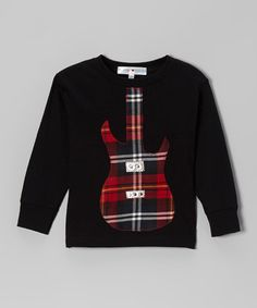 Take a look at this Black & Red Plaid Guitar Tee - Toddler & Boys by mini scraps on #zulily today!