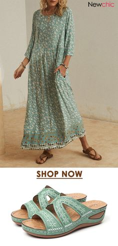 Casual Dresses, Fashion Dresses, Summer Dresses, Colorful Fashion, Clothes For Women, Womens Fashion, How To Wear, Dress Sandals, Dress Shoes
