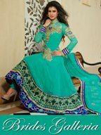 Sea Green Pure Georgette Anarkali Suit