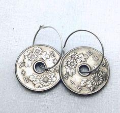 Chrysanthemum earrings - 1967 vintage Japanese coins - by FindsAndFarthings on Etsy