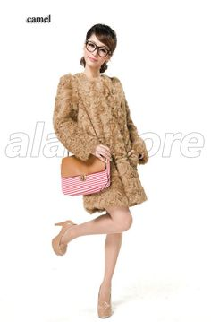 2013 New Style Fur Coat In Winter For Women On Sale, Sheepskin Fur Coat With Round Collar, Medium And Long Length Fur Overcoat