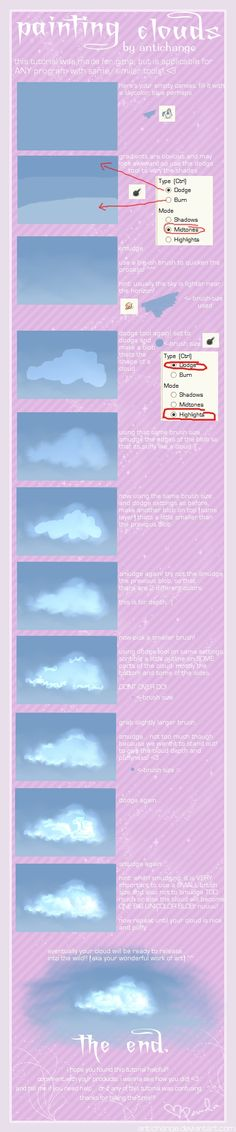by antichange on DeviantArt Cloud Tutorial, Gimp Tutorial, Painting Clouds, Painting Techniques, Drawing Reference, Deviantart, Artwork, Coloring, Poses