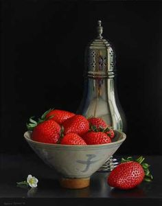Jessica Brown. Still life with Sugar Shaker and Strawberries in a Qing bowl