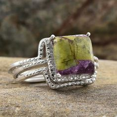 925-STERLING SILVER RING W/GENUINE STONES GENUINE TASMANIAN STICHTITE STONE SET IN PURE 925-STERLING SILVER SET OF THREE RINGS W/GENUINE DIAMONDS TCW-3.67 AND TOTAL DIAMOND CT-0.020 Jewelry Rings