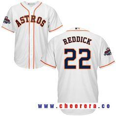 Men's Houston Astros #22 Josh Reddick White Home Majestic Cool Base Stitched 2017 World Series