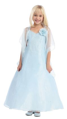 Baby Blue Long Pageant Dress Beaded SparklesLong Baby Blue Beaded Girls Dress This dress is cut in a heavenly light blue shade and embellished with thousands of sparkling beads that create a petterned design of the organza fabric. The A-line style is fully lined and comes with a matching shawl. Made in the USA.