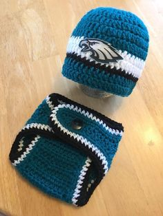 Newborn Baby Boy Philadelphia Eagles Football Hat and Diaper Cover Set Baby  Shower Gift Crochet Knit ffeebc6e2