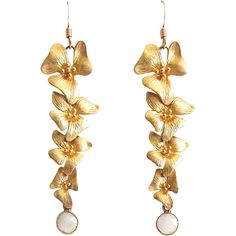 Designs by Ali Matte Gold Plated Orchid Flower with Moonstone Earrings from Designs by Ali on Ruby Lane