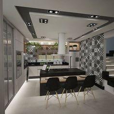 Que tal uma cozinha com muito charme para receber os amigos e experimentar pratos incríveis?   Projeto: Arq. Letícia Maurer | Equipe Renata Bittencourt Arquitetura    #cozinha #kitchen #projetodeinteriores #arquitetura #arquiteta #architecture #architect #arquitecta #arquitectura #arq #revestimentos #tile #projetos #geométrico #black #gray #white #preto #cinza #branco #loveit #instadecor #instawork #decorhome #mdfgris #arauco #monday #goodmorning #segundafeira #bomdiaf