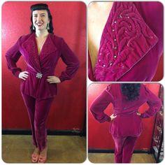1930s 40s Silk Velvet Pants Suit Rare Fuchsia Loungewear by THEGIRLCANTHELPITUSA on Etsy
