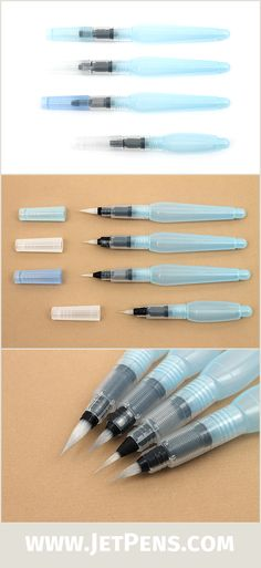 Featuring four of the popular Pentel Aquash Water brush Pens in different tip and body sizes, this set has all brushes you need to do watercolor paintings. Extremely portable and convenient to use, these water brushes are a must-have for any artist!