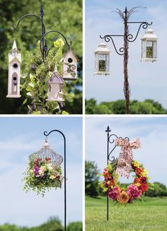 Use a shepherd's hook to hang birdhouses, lanterns or wreaths for a lovely touch of spring.