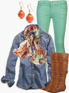 Mint pants, denim jacket, scarf and brown long boots for fall