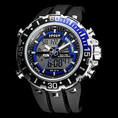 Men's Multi-Functional Military Style Steel Round Dial Rubber Band Analog-Digital Wrist Watch (Assorted Colors) – USD $ 29.99