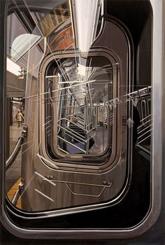 Artist: Richard Estes, realist {contemporary #hyperreal subway train photorealism painting}