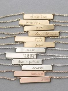 Personalized Bar Necklaces - custom made by hand. Really beautiful quality and amazing reviews!