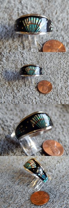 Rings 98500: Mens Sterling Silver Jet Created Opal Inlay Ring Navajo Gilbert Smith Size 15 -> BUY IT NOW ONLY: $94.77 on eBay!