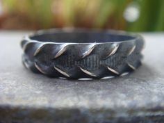 Unisex Oxidized Silver Ring Mens Ring by JennKoDesign on Etsy, $75.00