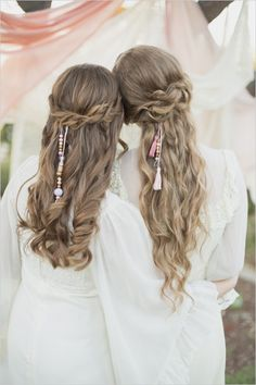 Half up curled and beaded wedding hair. Hair Stylist: Hello Darling Wedding and Event Hairstyling #weddingchicks --- http://www.weddingchicks.com/2014/06/16/these-vintage-dresses-will-captivate-your-romantic-side/