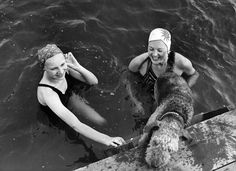 Two young women bathing with an airedale.  c. 1956