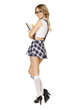 The boys will be lined up at your locker for a chance to take you out in the Playful Schoolgirl Costume by Roma style 4550. Costume features front tie white top and plaid sexy high waisted mini skirt with suspenders. #sexyschoolgirl #schoolgirluniform #schoolgirlcostume