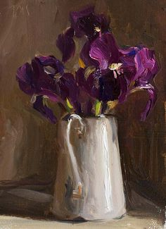 daily painting titled Irises in an enamel jug - click for enlargement