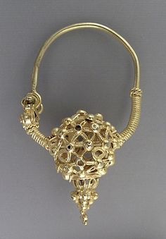 Earring, first half of 11th century; Gold, fabricated entirely from sheet, wire and granules. Iran