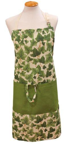 Delantal yedra con gran bolsillo en verde con varias separaciones, cinturón para atar por delante o por detrás, anilla para regular la altura del peto y un detalle para colgar accesorio