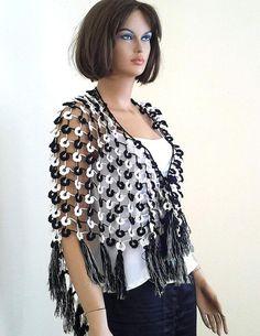 Items similar to Crochet  flower shawl, large triangle shawl, bridal shawl, fringed shawl, wedding shawl, white and black, womens shawl on Etsy