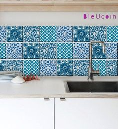 Tile decal : Indian Blue pottery style 4 DESIGNS 44 by Bleucoin. For rental kitchen! Jaipur, Tile Decals, Wall Tiles, Wall Decal, Room Tiles, Backsplash Tile, Kitchen Tiles, Kitchen Flooring, Kitchen Design