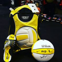 Jukz AVP beach volleyball slides and backpack & ball autographed by Kerri Walsh. #goin4gold