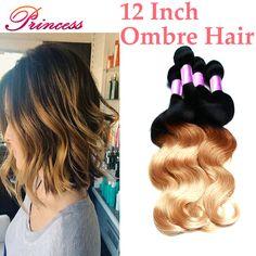 8a Grade Brazilian Virgin Hair Unprocessed Human Hair Ombre  Brazilian Hair Weave Bundles 12 Inch Ombre Blonde Brazilian hair