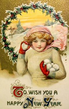 Snowball fight! :) #vintage #New_Years #card