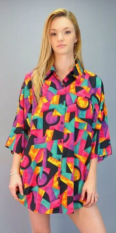Vintage 90s Abstract Geometric Print Shirt Oversized Button Front Blouse Op Art Fresh Prince of Bel Air Bright Pink Purple Orange Top by BlueFridayVintage on Etsy
