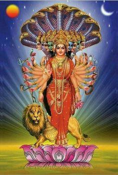 "Durga meaning ""the inaccessible"" or ""the invincible"", is the most popular incarnation of Devi and one of the main forms of the Goddess Shakti in the Hindu pantheon Durga Ji, Saraswati Goddess, Goddess Lakshmi, Shiva Shakti, Durga Images, Lakshmi Images, Lord Krishna Images, Navratri Puja, Maa Durga Image"