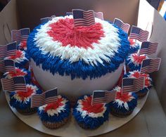 July 4th Cake or a cake to celebrate the old C.E king Pom poms lol!