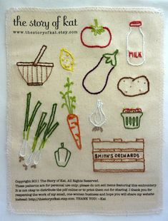The Story of Kat - Farmers Market Embroidery Pattern. $5.00, via Etsy.