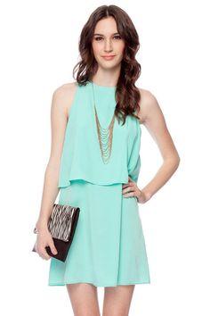 Seafoam green tiered dress