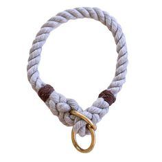 The Main features a 3-strand soft cotton rope with 2 solid brass rings and delicate whipping knots at the end of each splice for a sleek look and