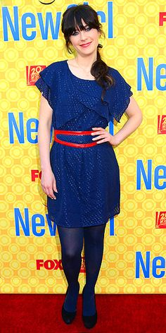 ZOOEY DESCHANEL  The New Girl star lives up to her adorkable reputation in a supercute ,short-sleeve sparkly dress worn with a red belt and black pumps at an L.A. screening for her show.