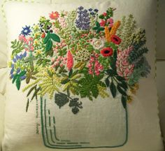 embroidery vase and flowers.