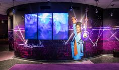 Super Bowl display at Paisley Park dedicated to Prince's performance at the game's half time show.