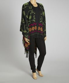 Take a look at this Black & Green Silk-Blend Poncho - Plus by Life and Style Fashions on #zulily today!
