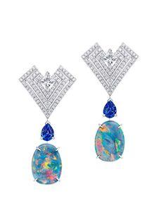 Louis Vuitton Acte V Genesis earrings featuring Australian black opals, star-cut diamonds and sapphires.