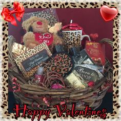 Valentines day romance and love gift basket for him and her leopard theme valentines gift basket 65 designed by sassy sanders boutique sciox Choice Image