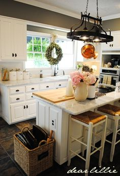 really like the big basket storage for all those different sized pans ~ Dear Lillie: Matt and Meredith's HUGE Kitchen Makeover Huge Kitchen, Kitchen Dining, Kitchen Decor, Kitchen Ideas, French Kitchen, Kitchen White, Awesome Kitchen, Kitchen Things, Beautiful Kitchen